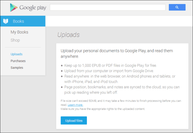 google play books upload Documents